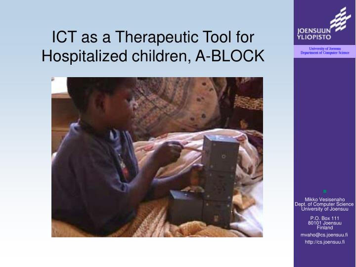 ICT as a Therapeutic Tool for Hospitalized children,