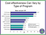 cost effectiveness can vary by type of program