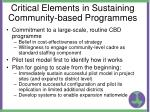 critical elements in sustaining community based programmes