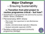 major challenge ensuring sustainability