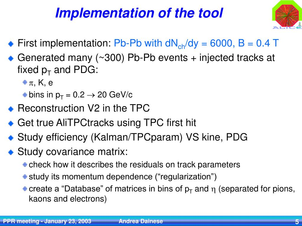 PPT - TPC tracking parameterization: a useful tool for