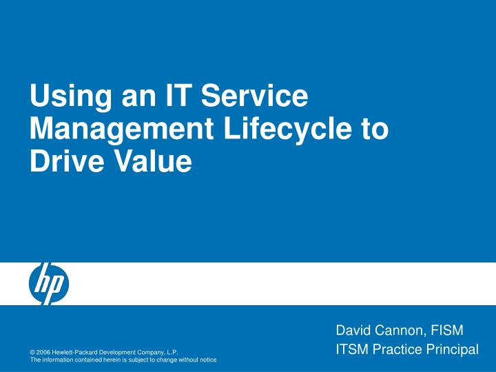 using an it service management lifecycle to drive value n.