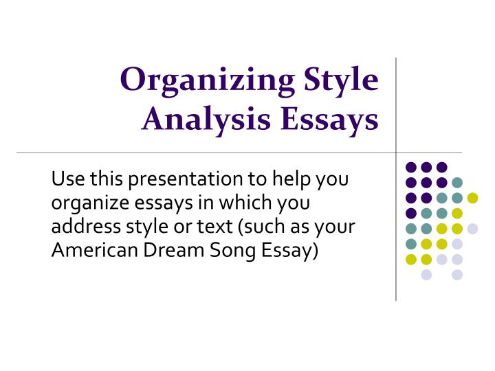 style organization essay Most people think they are either organized or not period but the truth is, there are actually several different ways to be organized i am a practical manager, the person who has a master planner, a notebook for work, a notebook for daily to do's, color coded events, and folds her underwear.