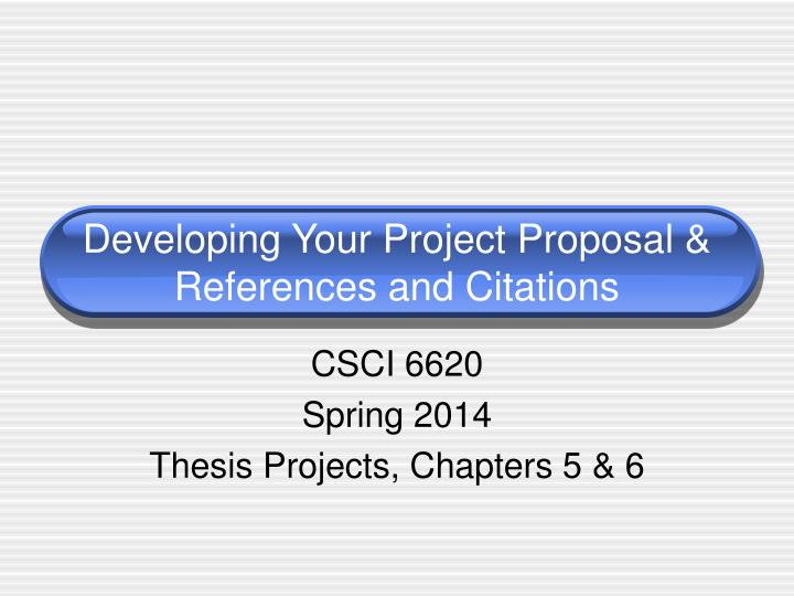 developing your project proposal references and citations n.