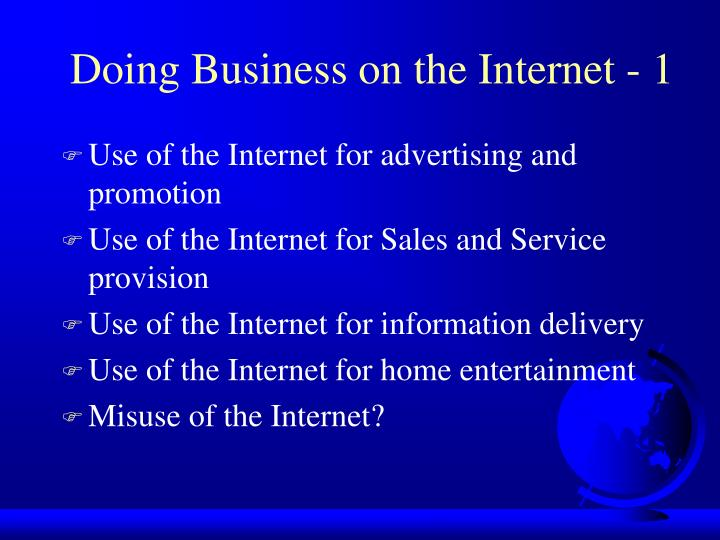 Doing Business on the Internet - 1