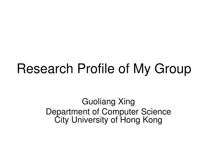 research profile of my group n.