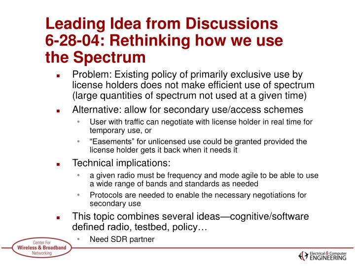 Leading Idea from Discussions