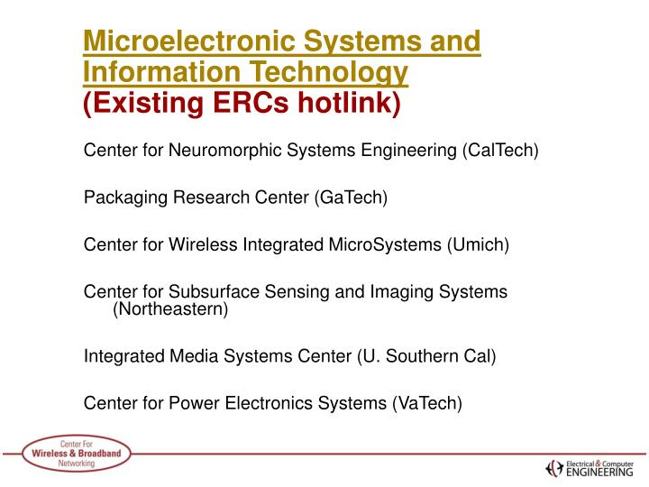 Microelectronic systems and information technology existing ercs hotlink