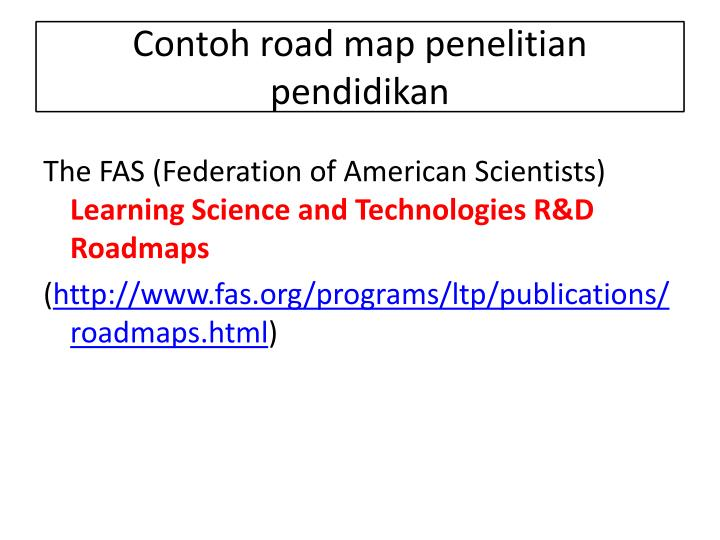 Contoh road map penelitian pendidikan