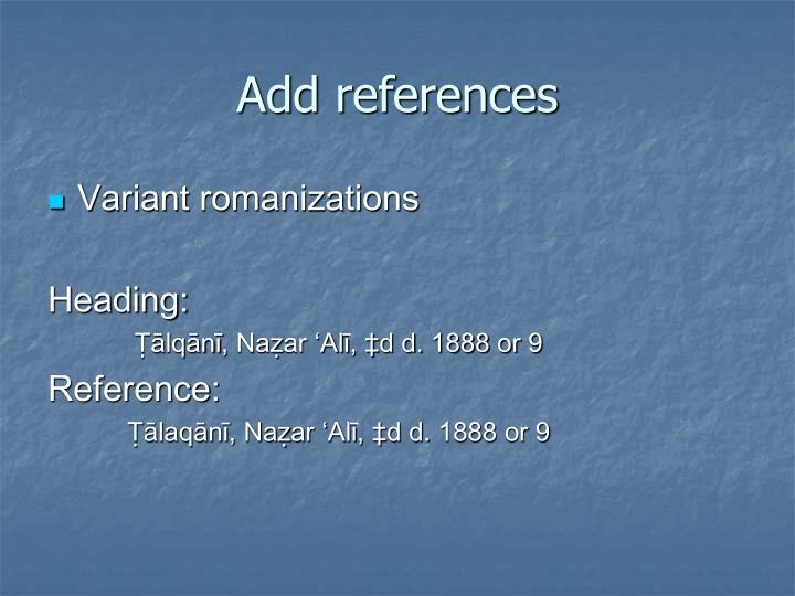 Add references
