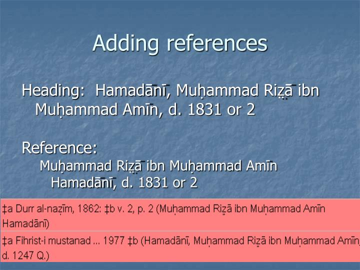 Adding references