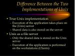 difference between the two implementations of unix