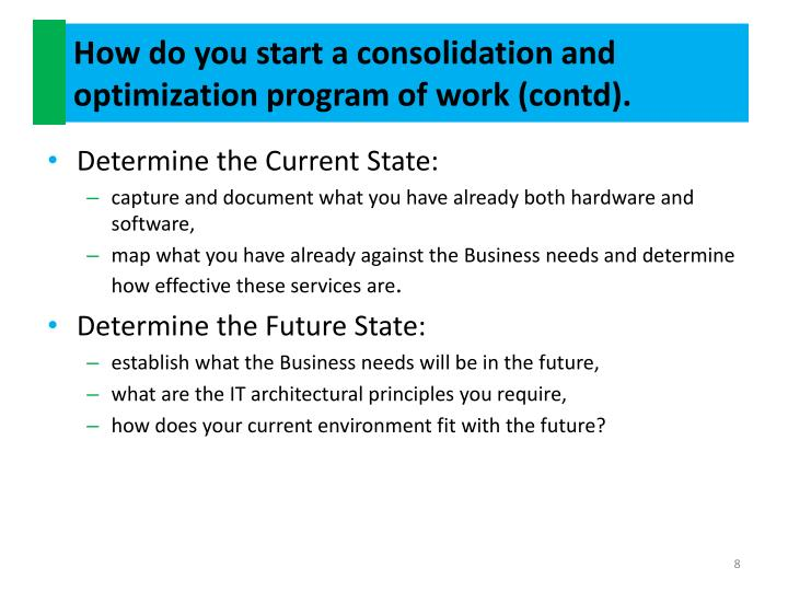 How do you start a consolidation and optimization program of work (contd).
