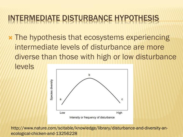 The hypothesis that ecosystems experiencing intermediate levels of disturbance are more diverse than those with high or low disturbance levels