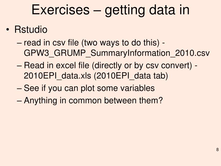 Exercises – getting data in
