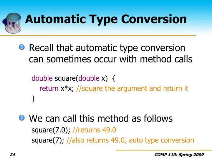 Automatic Type Conversion
