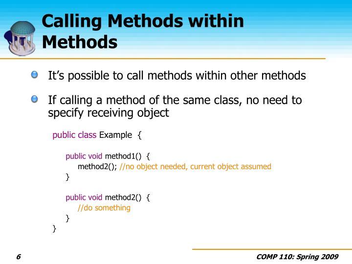 Calling Methods within Methods