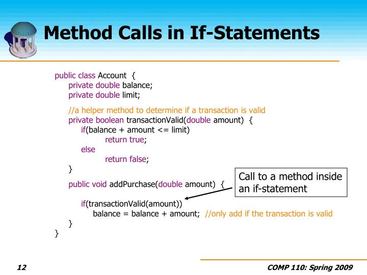 Method Calls in If-Statements