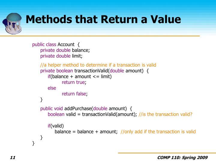 Methods that Return a Value