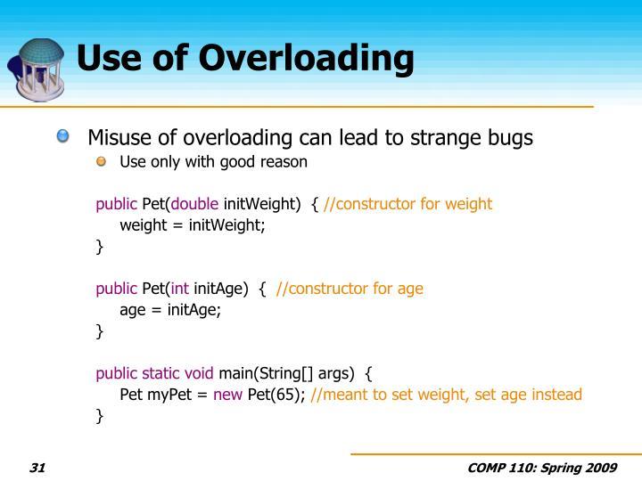 Use of Overloading