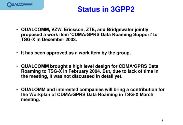 Status in 3gpp2