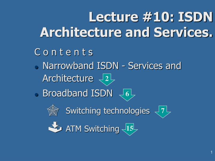 lecture 10 isdn architecture and services n.