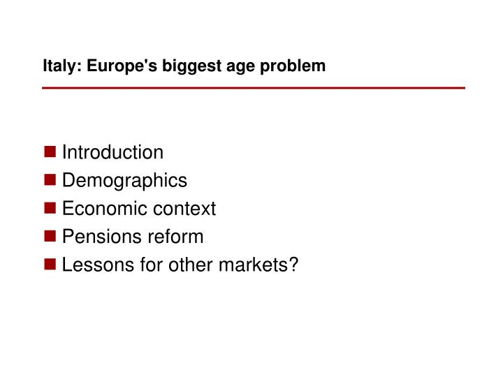 Italy europe s biggest age problem
