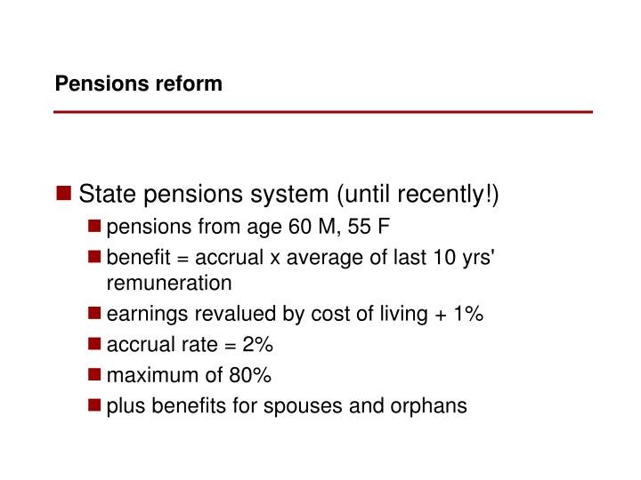 State pensions system (until recently!)