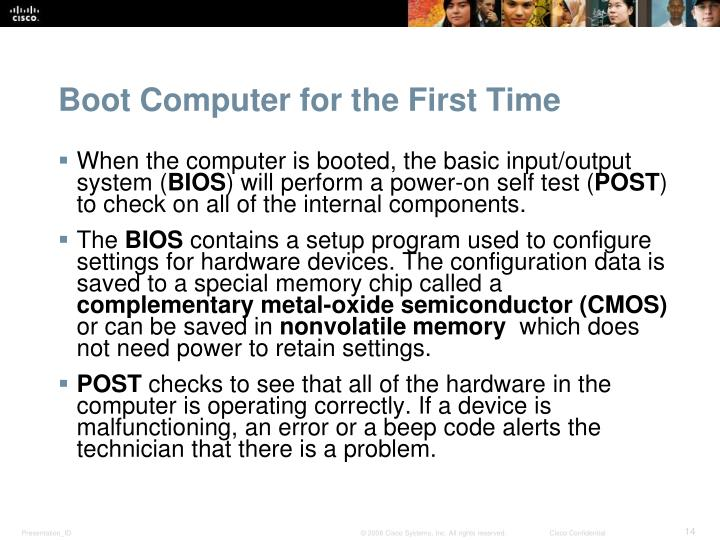 Boot Computer for the First Time