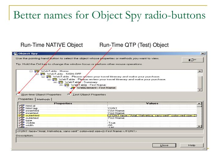 Better names for Object Spy radio-buttons