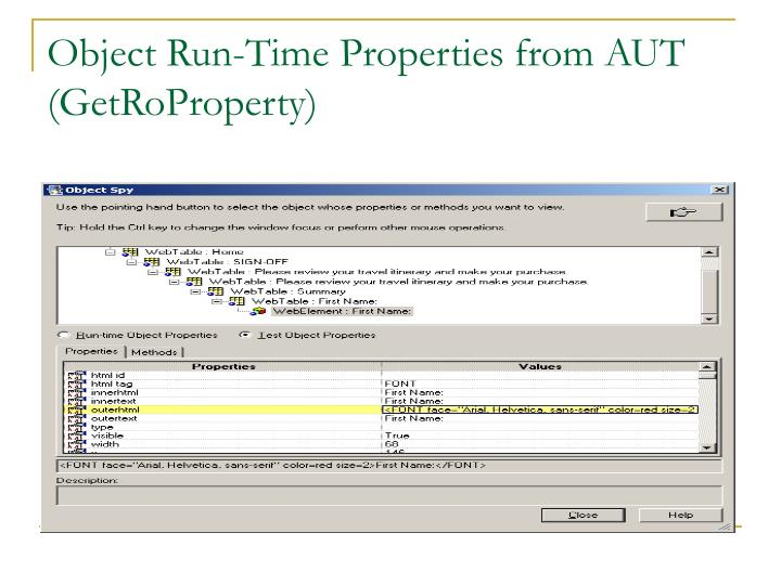 Object Run-Time Properties from AUT (GetRoProperty)