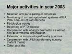 major activities in year 2003