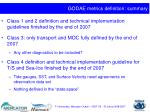 godae metrics definition summary