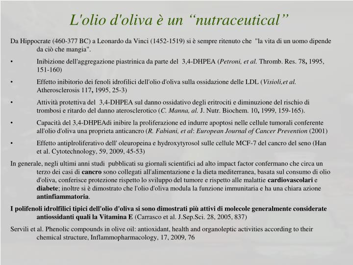 """L'olio d'oliva è un """"nutraceutical"""""""