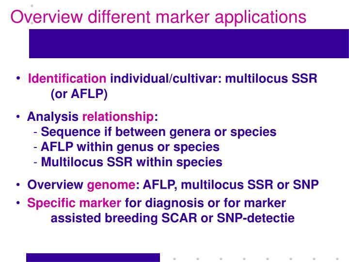 Overview different marker applications