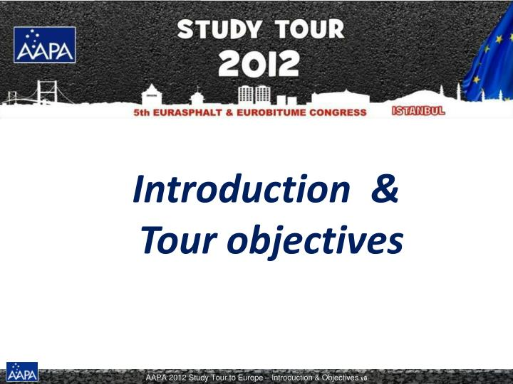 introduction tour objectives n.