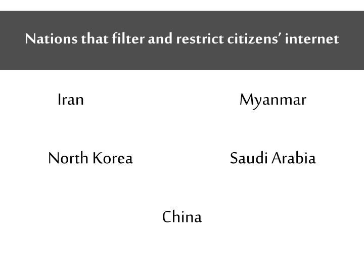 Nations that filter and restrict citizens' internet