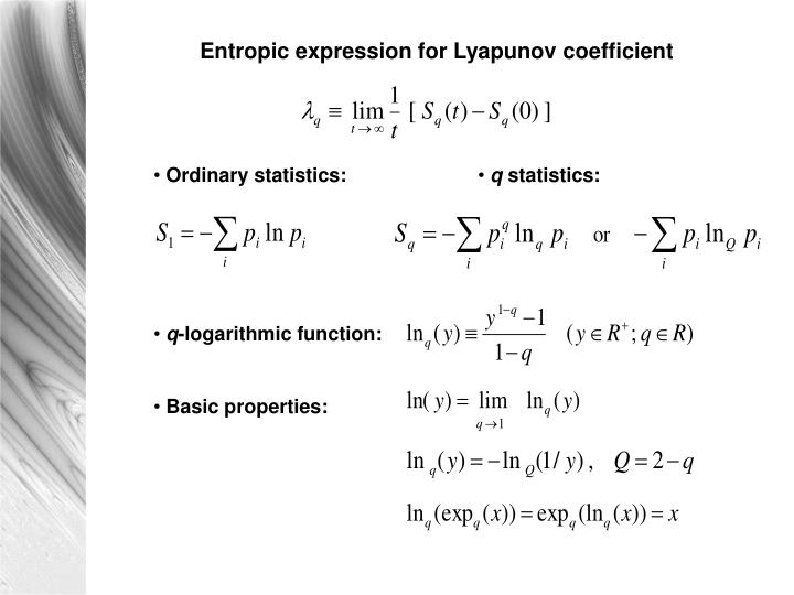 Entropic expression for Lyapunov coefficient