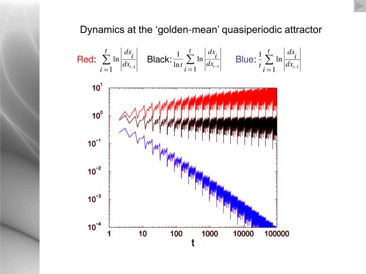Dynamics at the 'golden-mean' quasiperiodic attractor