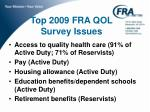 top 2009 fra qol survey issues