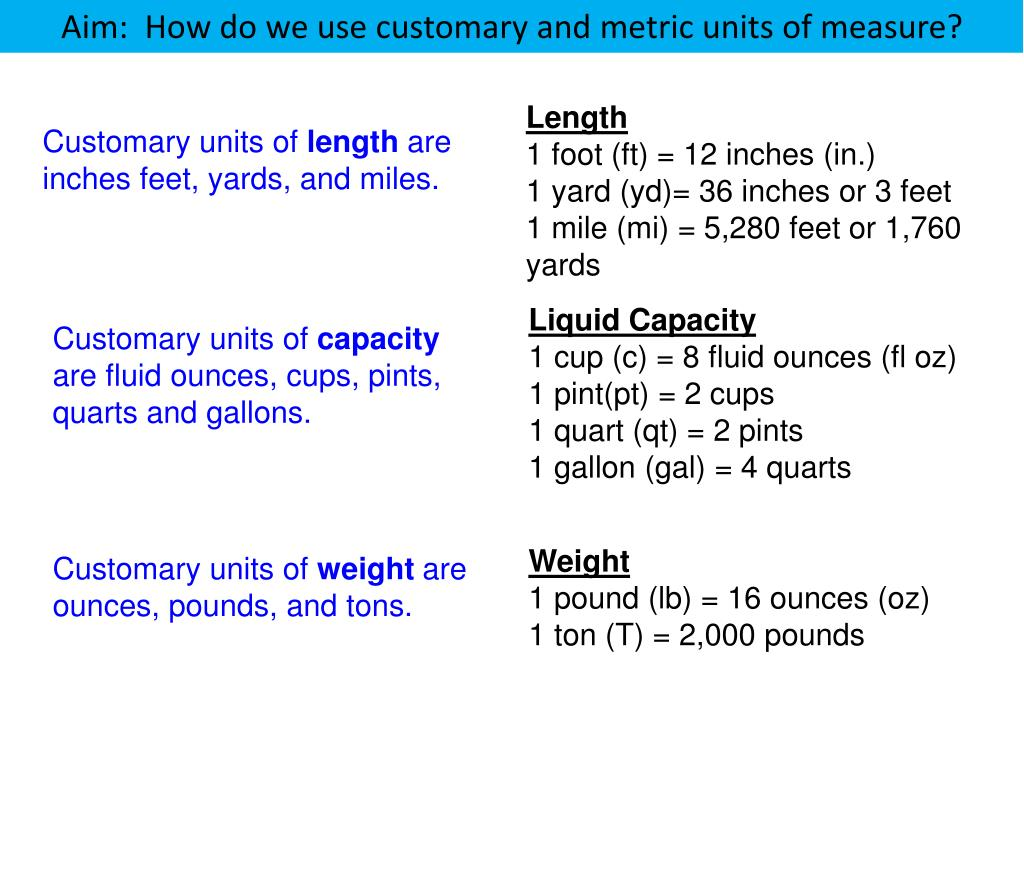 PPT - Length 1 foot (ft) = 12 inches (in.) 1 yard (yd)= 36 ...
