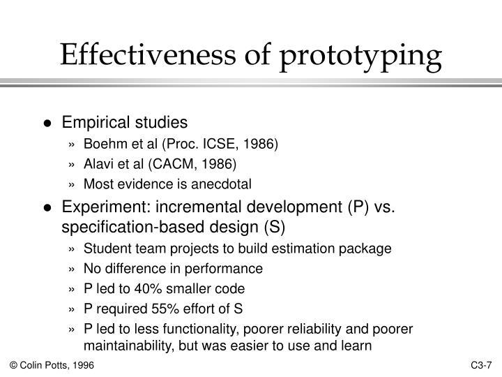 Effectiveness of prototyping