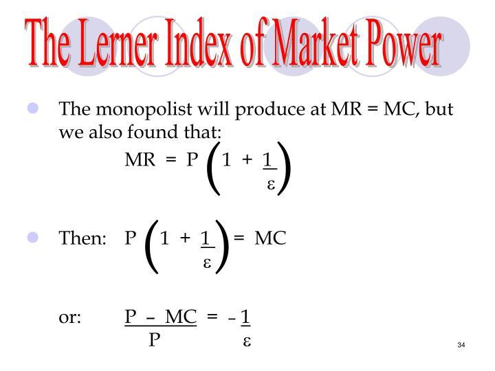 The Lerner Index of Market Power