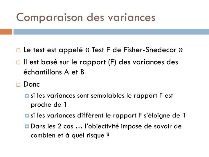 Comparaison des variances