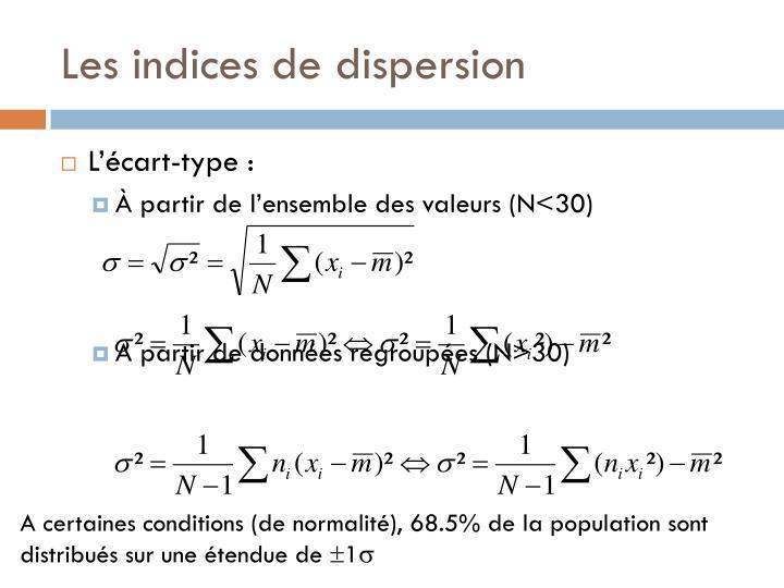 Les indices de dispersion