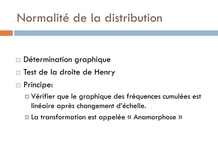Normalité de la distribution