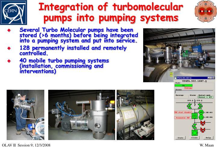 Integration of turbomolecular pumps into pumping systems