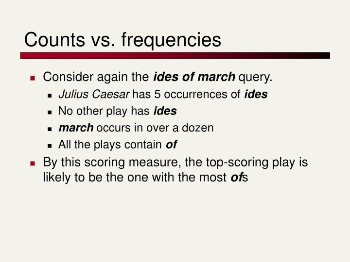 Counts vs. frequencies