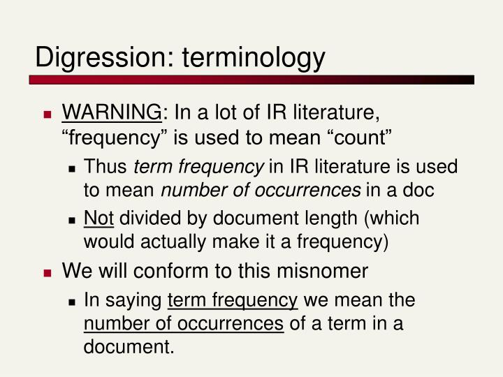 Digression: terminology