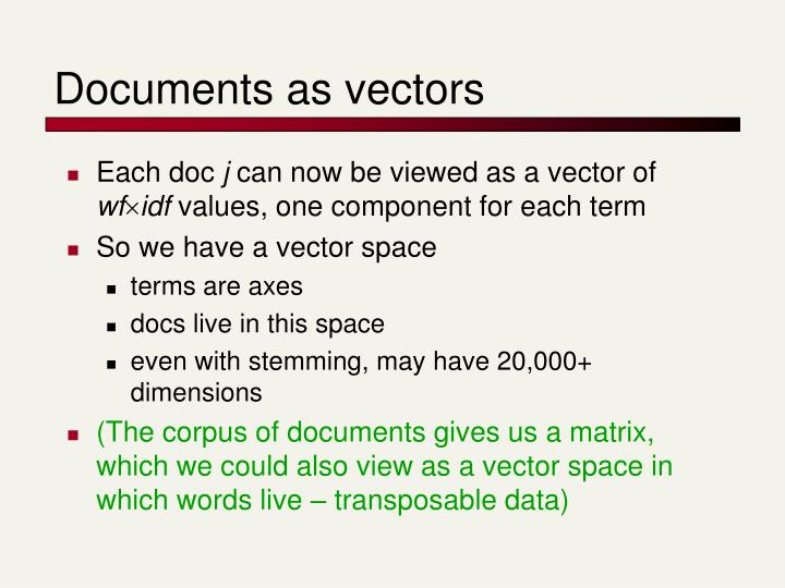 Documents as vectors